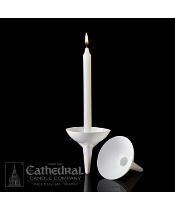 Drip Protector and Candle Holder - White Plastic