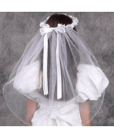 First Communion Veil with Pearls and Flowers