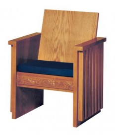 Celebrant Chair with Upholstered Seat and Wood Back