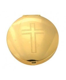 Gold Plated Pyx with Cross Design