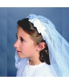 First Communion Veil with Floral Bow