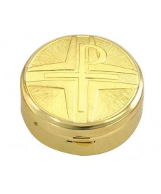Gold Plated Pyx with Chi-Rho Cross (15 hosts)