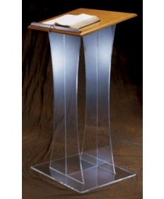 "Acrylic Lectern with Wood Top 48""H"