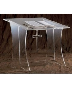 Acrylic Lectern with Table Top and Etched Cross