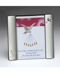 Confirmation Photo Frame with Dove and Flames