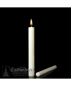 "1 1/8"" x 10 1/2"" Altar 51% Beeswax Candles Plain End (Special 3)"