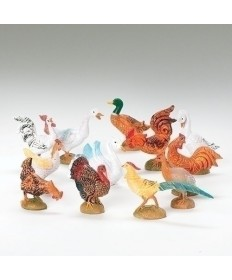 "12 pc Set Fontanini 5"" Barnyard Birds"