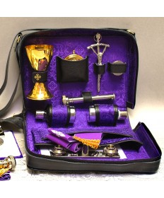 Travel Mass Kit with purple Damask Interior