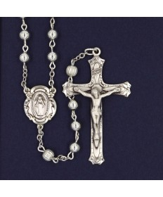5 mm Round All Sterling Silver Rosary