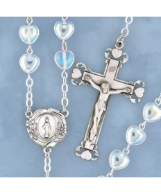 8 mm Glass Heart Shaped Beads Rosary