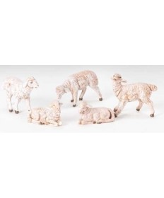 "5 pc. Set Fontanini 5"" White Sheep"