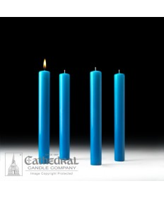 "Advent 51% Beeswax Church Candle Set 1.5"" x 12"" - 4 Light Blue"