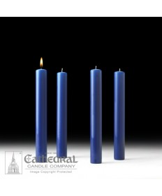 "Advent 51% Beeswax Church Candle Set 1.5"" x 12"" - 4 Sarum Blue"
