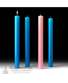 "Advent 51% Beeswax Church Candle Set 1.5"" x 16"" - 3 Light Blue/1 Pink"
