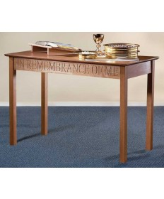 Silk-Screened Communion Table with Pecan Stain by Robert Smith