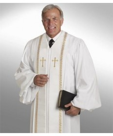 RT Wesley Pulpit Robe H-94 in White by Murphy Robes