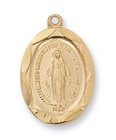 "Gold over Sterling Silver Miraculous Medal on 18"" Chain"