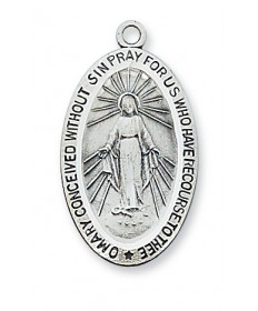 "Sterling Silver Miraculous Medal on 18"" Chain 1-1/16"" Tall"