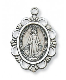 "Sterling Silver Miraculous medal on 18"" Chain 1"" Tall"