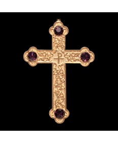 Pectoral Cross - Gold Plate with Amethyst Stones