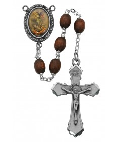 6 x 8mm Brown Wood Saint Michael Rosary