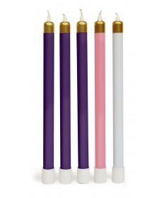Advent Tube Candles with Brasstone Tops (Purple, Pink & White)