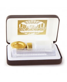 Portable Communion Set with Last Supper and Brown Case (20 Cups)