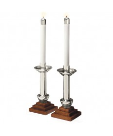 Altar Candlesticks Silverplate and Wood - Angel