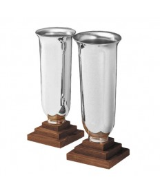 Altar Vases Silverplate and Wood - Angel